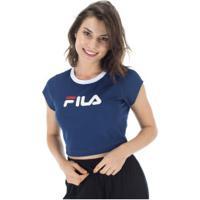 Blusa Cropped Fila Pia Ii - Feminina - Azul Esc/Branco