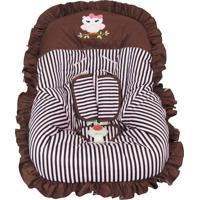 Capa Para Bebe Conforto Listrado Coruja Atelie Baby E Cia Marrom E Rosa