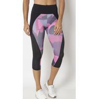 Legging Corsário Com Recortes- Preta & Rosa- Physicaphysical Fitness