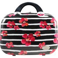 Frasqueira Floral- Preta & Rosa- 24X32X14Cm- Jacjacki Design