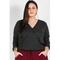 Blusa Plus Size Listrada Preta/Prata