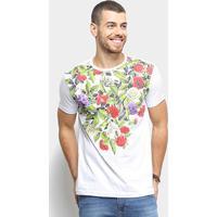 Camiseta Bulldog Fish Floral Masculina - Masculino-Branco