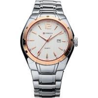 Relógio Curren Analógico 8103 Dourado/Branco