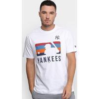 Camiseta New Era Mlb New York Yankees Color Stripe Batter Masculina - Masculino-Branco