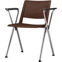 Cadeira Up Com Bracos Assento Marrom Base Fixa Cromada - 54334 - Sun House