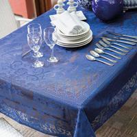 Toalha De Mesa Lepper Retangular Renda 155X250Cm Floral Azul