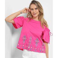 Blusa Open Shoulder Lily Fashion Com Bordado Feminina - Feminino-Pink