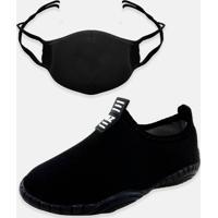 Kit Infantil Tênis Calce Fácil E Máscara Mz Shoes Preto