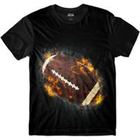 Camiseta Attack Life De Futebol Americano Em Chamas Sublimada Masculina - Masculino-Preto