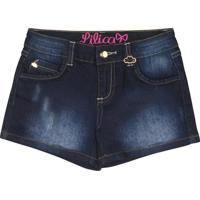 Short Jeans Estonado Com PuãDos - Azul Escurolilica Ripilica E Tigor T. Tigre