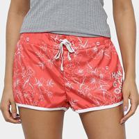 Shorts Hang Loose Short Board Hang Hibiscus Feminino - Feminino-Coral