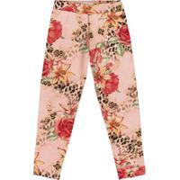 Legging Floral - Rosa Claro & Vermelha- Primeiros Patrick Nick