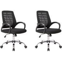 Conjunto Com 2 Cadeiras De Escritório Secretária Light Preto