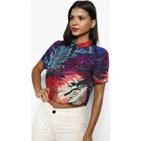 Camisa Cropped- Roxa & Verdedimy