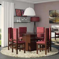 Conjunto De Mesa E Cadeira De Jantar Vidro Oitavada Tabaco Vermelho