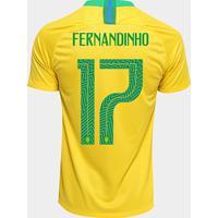 dd87b3611 Camisa Seleção Brasil I 2018 Nº 17 Fernandinho - Torcedor Nike Masculina -  Masculino