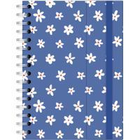 Caderno A5 Com Aba Brigitti Margaridas Azuis Lubi