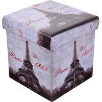 Puff Baú Mini Quadrado Com Tampa Estampa Paris