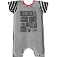 Macacão Infantil Curto Comfy Rock Freedom - Unissex-Cinza