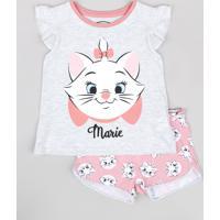 Pijama Infantil Marie Babado Na Manga Cinza Mescla Claro
