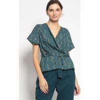 Blusa Transpasse Floral- Verde Escuro & Rosa Claroenna