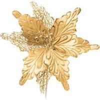 Flor Decorativa Poinsettia- Dourada- 25X25X25Cm-Cromus