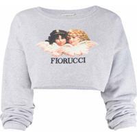 Fiorucci Vintage Angels Cropped Sweatshirt - Cinza