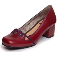 Sapato Feminino Vermelho Em Couro- Amora / Sued Uva 7323