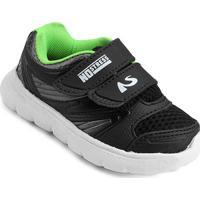 Tênis No Stress Infantil Velcro Menino - Masculino-Preto+Verde Limão
