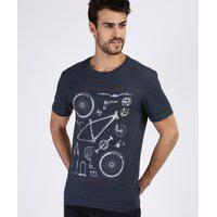 "Camiseta Masculina Life Is A Journey"" Manga Curta Gola Careca Azul Marinho"""