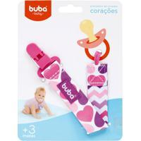 Buba7482 Prendedor De Chupeta Corações (3M+) - Buba