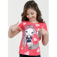 Blusa Infantil Sereia Foil Manga Curta Marisa