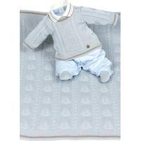 Saída De Maternidade Beth Bebê Davi Luxo Tricô Azul Claro