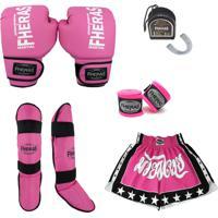 Kit Boxe Trad Fheras - Luva Bucal Caneleira Shorts Bandagem -Rosa
