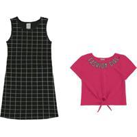 Vestido Com Blusa Malha Cotton Rosa