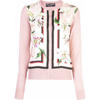 Dolce & Gabbana Cardigan Com Recortes Florais - Rosa