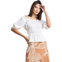 Blusa Mx Fashion Ombro A Ombro De Tricoline Off White - Branco/Off-White - Feminino - Algodã£O - Dafiti