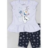 Conjunto Infantil De Blusa Olaf Frozen Manga Curta Lilás + Bermuda Estampada De Flocos De Gelo Azul Marinho