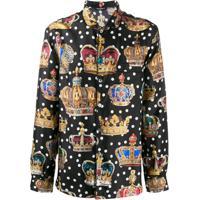 Dolce & Gabbana Camisa Com Estampa De Coroa - Preto