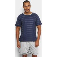 Pijama Lupo Listrado Masculino - Masculino-Marinho