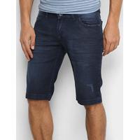 Bermuda Jeans Preston Puídos Masculina - Masculino-Azul Escuro