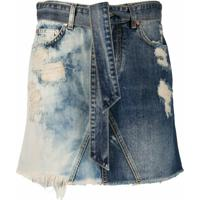 Givenchy Minissaia Jeans Com Destroyed - Azul