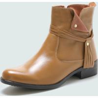 Bota Cano Curto Over Boots Urbana Couro Bege - Kanui