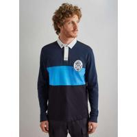 Polo Rugby Recorte Ml Azul