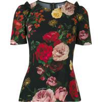 Dolce & Gabbana Blusa Com Estampa De Rosa E Babados - Preto