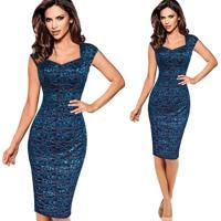 Vestido Coquetel Tubinho Renda - Azul Safira Pp
