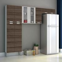 Cozinha Compacta Alfa Top 9 Portas Branco Com Dubai E Rovere Kit'S Paraná