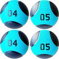 Kit 4 Medicine Ball Liveup Pro E 5 Kg Bola De Peso Treino Funcional Lp8112