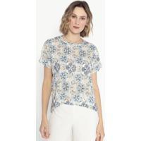 Blusa Listrada Floral- Azul & Bege- Cotton Colors Excotton Colors Extra