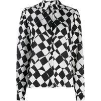 Msgm Camisa Com Estampa Xadrez - Branco